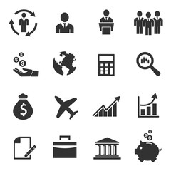Business icons, management human resources - vector icon set