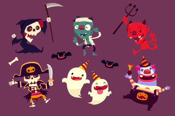 halloween characters doing funny dance in party