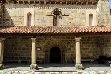 sight of the front of the Romanesque church of Santa Maria the Real one in the Cillamayor town in Palencia, Castile and León, Spain