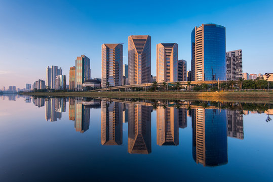 Modern Buildings Reflection in Pinheiros River in Sao Paulo City