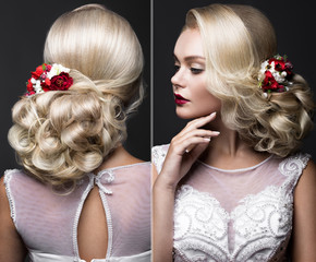 Beautiful blond woman in image of the bride with wedding accessories. Beauty face and Hairstyle.