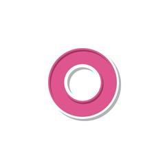 Pink Donut O Letter Logo Template