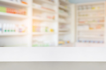 wood counter with blur shelves of drug in the pharmacy