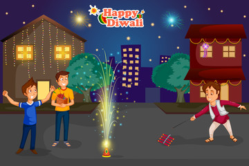 Kids enjoying firecracker celebrating Diwali festival of India