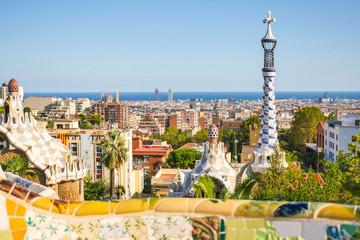 Foto op Canvas Barcelona Park Guell by architect Antoni Gaudi, Barcelona, Spain