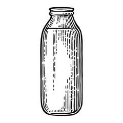 Milk traditional glass full bottle.