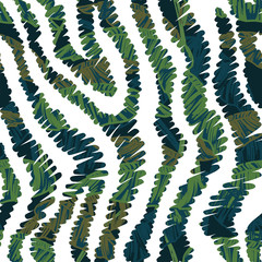 Animal seamless pattern with tropical leaves.