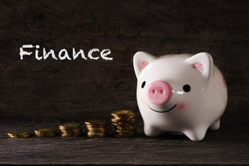 """Finance"" words with Piggy bank and stack of golden money increased with wooden background - saving, finance and business concept"