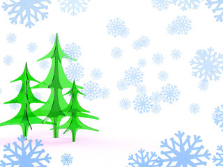 group of glass Christmas fir tree isolated on white background with showflakes. Happy new year postcard design print 3d illustration concept