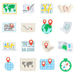 World map, icons set. Maps of the earth, flat design. Geographic map, symbols collection. Geography and map location, isolated vector illustration. Maps of different shapes.