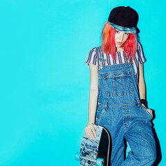Pretty Teenage skate girl with pink hair Urban Style Jeans Fashi