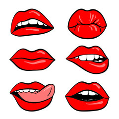 A set of lips on a white background. Mouth teeth.