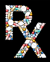 RX - symbol for medical prescription - composed if pills and capsules.