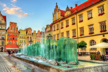 Obraz Fontanna na Rynku Wrocławskim - fototapety do salonu