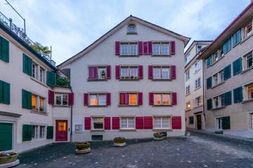 Apartment building at dusk, night in Zurich, Switzerland.