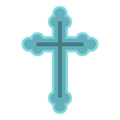 Christian cross icon. Flat illustration of cross vector icon for web design