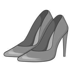 Women high heeled shoes icon. Gray monochrome illustration of women high heeled shoes vector icon for web