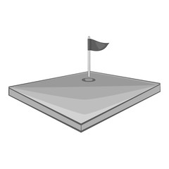 Golf course icon. Gray monochrome illustration of golf course vector icon for web