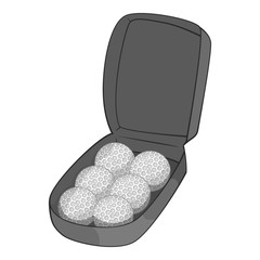 Bag for golf balls icon. Gray monochrome illustration of bag for golf balls vector icon for web