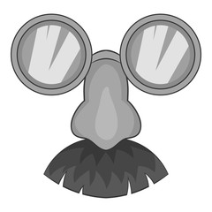Clown face icon. Gray monochrome illustration of clown face vector icon for web