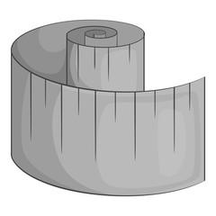 Measuring tape icon. Gray monochrome illustration of measuring tape vector icon for web