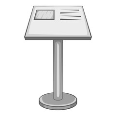 Stand in museum icon. Gray monochrome illustration of stand in museum vector icon for web