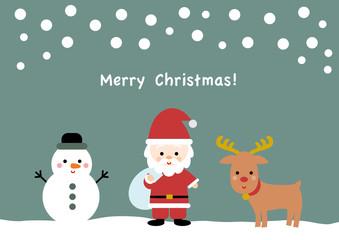 Merry Christmas サンタクロース トナカイ 雪だるま イラスト