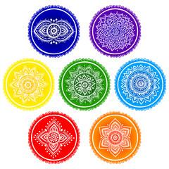 Bohemian Indian chakra Mandalas. Vintage Henna tattoo style Indi