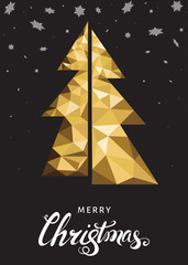 Christmas  greeting card with  triangle gold  fir  on black back