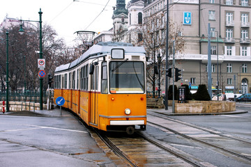 Old yellow tram in Budapest