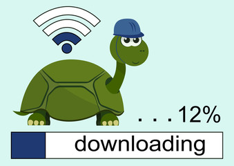 Cartoon turtle wearing a helmet with smile on her face. Loading bar. Wi Fi Icon. Vector illustration.