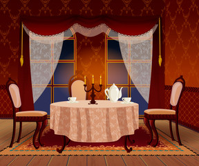 Vector Cartoon Dark Living Room Interior In Classic Vintage Style
