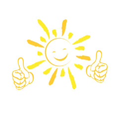Sonne gezeichnet, Sonne und Lächeln, Hände. Logo