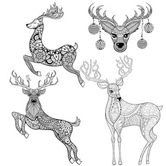 Christmas Reindeer set in patterned style for adult anti stress