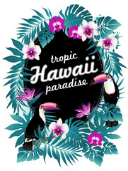 Hawaiian party! Vector illustration of tropical birds, flowers, leaves.