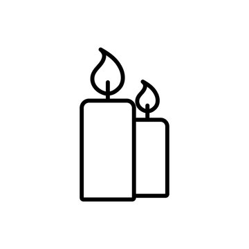 candle light burn wax blue thin line outline icon on black backg