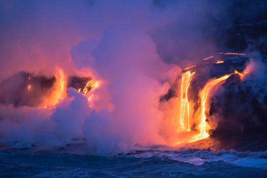 Lava vom Kilauea trifft aufs Meer auf Hawaii
