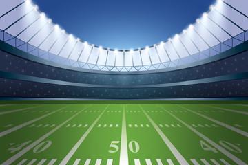 American football stadium with spotlight.