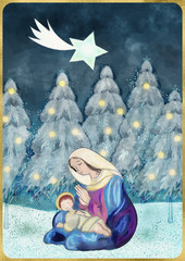 Merry Christmas card Mother of God with Child Jesus and star of