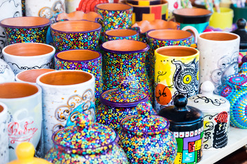 Colorful ceramic pottery on display to be sold