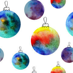 Vector watercolor balls seamless pattern With hand drawn elementss. Can be used for web pages, printing, textile, wrapping etc. On white background