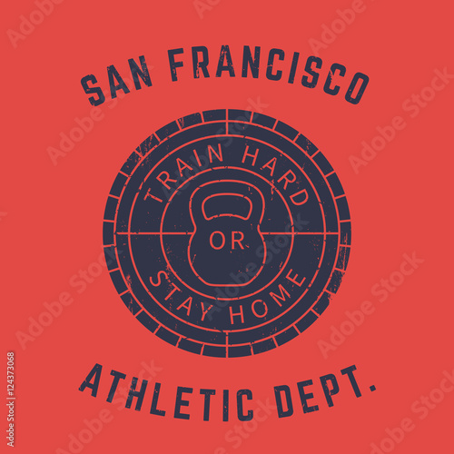 f1115101f Round gym logo, t-shirt print, grunge sign with kettlebell on red ...