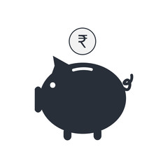 Money currency icon. Piggy bank with Rupee coin vector illustration.
