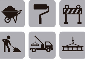 9 Square Grayscale Construction and Tool Icons