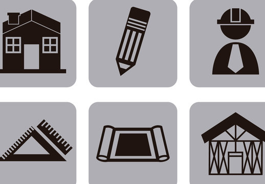 9 Square Grayscale Construction and Architecture Icons