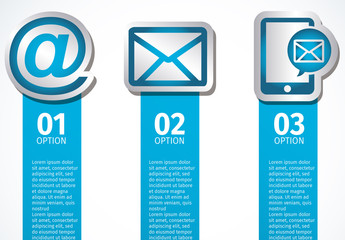 3 Vertical Banner Web and Communications Infographic with Large Cut-Out Icons