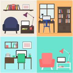 Home office apartment set. Interior design for home office or living room. Modern workplace furniture. Flat design vector illustration.