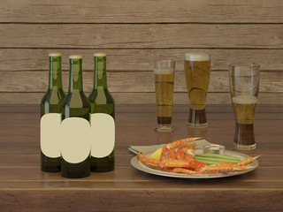 Lager beer in green bottles and glasses of beer froth with an exotic dish.