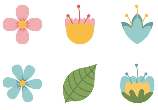9 Pastel Tropical Flower Icons