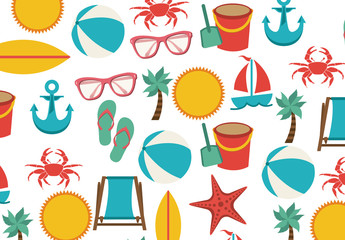 Beach Icons Pattern